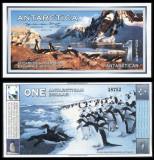 !!! X. RARR :  ANTARCTICA  -  1  DOLAR  1996 , SPECIMEN  -  UNC / FORMATUL MARE