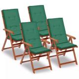 Perne scaun de grădină, 4 buc, verde, 120x50x3 cm