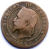 MOKAZIE , FRANTA , NAPOLEON III , 10 CENTIMES 1862 A , PARIS MINT , 30mm., Europa, Cupru (arama)