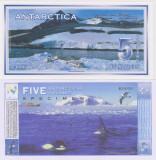 !!! F. RARR :  ANTARCTICA  -  5  DOLARI  1996 , SPECIMEN  -  UNC / FORMATUL MARE