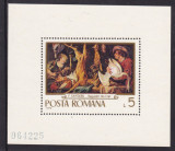 ROMANIA 1970  LP 742  REPRODUCERI DE ARTA  VANATOAREA  COLITA   DANTELATA  MNH