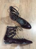 LICHIDARE STOC! Superbi pantofi dama noi piele lacuita naturala grena 37