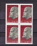 ROMANIA 1970 LP 725 - 100 DE ANI DE LA NASTEREA LUI  LENIN  BLOC DE 4 TIMBRE MNH