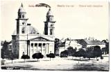 Satu Mare carte postala  biserica romano-catolica  animata,circulata in 1928