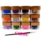 Set 12 Geluri Colorate UV EzFlow 2 in 1 Simple si cu Sclipici - Glamour + CADOU