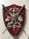 Panoplie miniaturala,belgiana,cu blazon si doua sabii,incrucisate