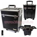Geanta Produse Cosmetice din aluminium tip troler Fraulein38, Deep Black