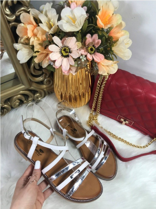 Sandale dama albe cu argintiu marime 36, 38, 39+CADOU