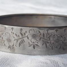 BRATARA argint FRANTA 1900 art nouveau FLORI gravate manual SPLENDIDA rara