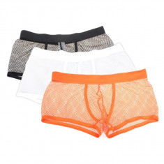 Boxeri barbati material plasa - fashion / sexy / de vara - NEGRU, Alb, Multicolor, L, M, XL