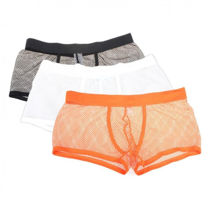 Boxeri barbati material plasa - fashion / sexy / de vara - NEGRU