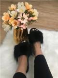 Papuci dama negri cu blana marime  40+CADOU, Din imagine