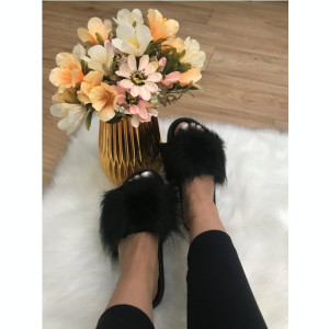 Papuci dama negri cu blana marime  40+CADOU