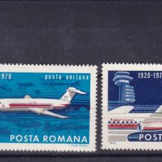 ROMANIA 1970  LP 722  - 50 ANI DE AVIATIE CIVILA IN ROMANIA SERIE MNH