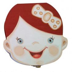 Cutie pentru pastrat dinti de lapte, pentru fete, din lemn, pictata manual