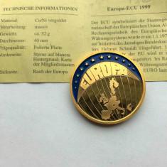Moneda medalie ECU 1999 Europa - PLACATA CU AUR