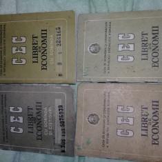 Carnet CEC LIBRET DE economii cu dobanda si castiguri,lot 4 cecuri vechi,T.GRAT