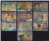 Africa de Sud, 2001, sportivi, golf, rugby, inot, box, fotbal, MNH, Nestampilat