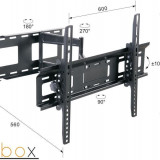 Suport TV cu brat Libox LONDYN LB-400 | 32''-65'', VESA 600x400mm, 45 kg, horizontal