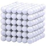 Neocube 216 bile magnetice 5mm, joc puzzle, culoare albe, 6-8 ani