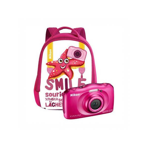 Aparat foto compact Nikon Coolpix W100 13.2 Mpx zoom optic 3x subacvatic Backpack Kit Pink