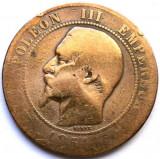 MOKAZIE , FRANTA , NAPOLEON III , 10 CENTIMES 1854 BB, Strasbourg MINT , 30mm., Europa, Cupru (arama)