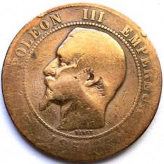 MOKAZIE , FRANTA , NAPOLEON III , 10 CENTIMES 1854 BB, Strasbourg MINT , 30mm.