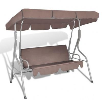 Balansoar rabatabil cu acoperi? pentru gradina, Cafeniu foto