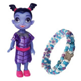 Papusa Vampirina, rochie violet, 17 cm si bratara reglabila cadou, 4-6 ani, Plastic