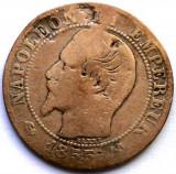MOKAZIE , FRANTA , NAPOLEON III , 5 CENTIMES 1855 B , ROUEN MINT , 25mm., Europa, Cupru (arama)