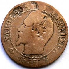 MOKAZIE , FRANTA , NAPOLEON III , 5 CENTIMES 1855 B , ROUEN MINT , 25mm.