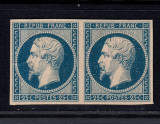 FRANTA 1852 NAPOLEON - 25 CENT ALBASTRU PERECHE ORIZONTALA NECIRCULAT, Nestampilat