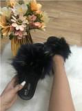 Papuci dama negri cu blana multicolora marime   38, 39+CADOU, Din imagine