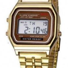 Ceas Casual Vintage MODEL RETRO ANII 80 Gold Silver Gold Black NOU, Inox, Casio