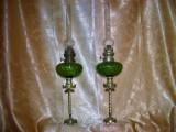 Set pereche lampi gaz petrol stil Gotic sec 19, bronz dore, vintage
