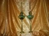 Set pereche lampi gaz petrol Baroc Victorian sec 19, columnare vintage