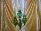 Rar! Lampa tripla de perete, Rococo, petrol ulei gaz, bronz masiv