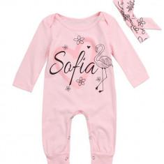 Salopeta roz Sofia cu bentita, 1-2 ani