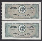 1000000 lei 1947 3 aUNC 2 Serii Consecutive
