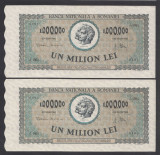 1000000 lei 1947 4 aUNC 2 Serii Consecutive