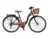 "Bicicleta City Umit Alanya , Culoare Negru/Maro , Roata 28"" , OtelPB Cod:28100000002"