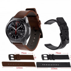 Curea de piele 22mm pt smartwatch Samsung Galaxy Watch Gear S3 Classic Frontier