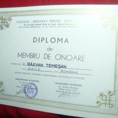Diploma Membru de Onoare- Fundatia Speranta pt.copiii Romaniei -DlR.Temesan BRCE