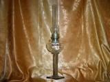 Lampa gaz petrol Art Deco, placata argint, cristal