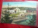 Ilustrata Baia Ocna Sibiului - Parcul si Baia calda 1929, Circulata, Printata