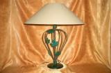 Veioza Art Deco floral, fier forjat, lemn, dimensiuni ample, vintage