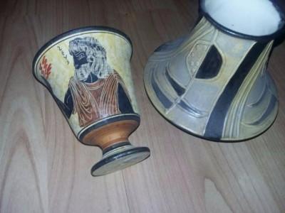 Piese vechi din lut,vase decor tip antic pictate manual TRANSPORT GRATUIT foto