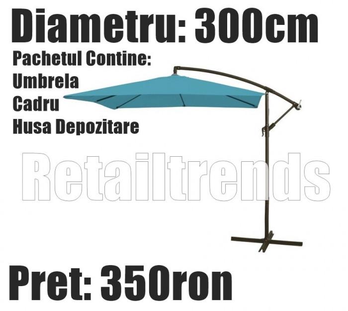 Umbrela Copertina Parasolar Terasa Gradina Modern Brat Lateral 3M + Husa Turcoaz