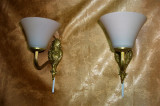 Set aplice electrice bronz, stil Baroc Victorian, opalina, vintage