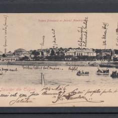 SALUTARI TULCEA  VEDERE PRINCIPALA   PALATUL ADMINISTRATIV  STAMPILA TREN  1910, Circulata, Printata